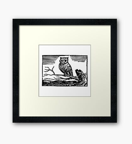 Antique Owl Woodcut Athena's Owl Framed Print