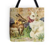 Victorian Easter Bunnies Rabbits In Grass Tote Bag