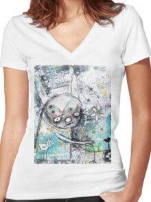 birds and flowers Women's Fitted V-Neck T-Shirt
