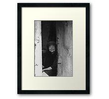 Old women in China black white photo Framed Print