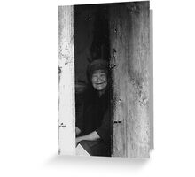 Old women in China black white photo Greeting Card