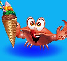 Crab Cartoon with Ice Cream by BluedarkArt