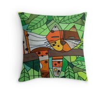 Calico Cat in a Tree whimsical abstract folk art Throw Pillow