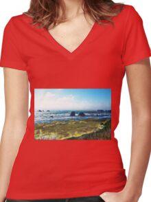 Coastline Bandon Oregon Women's Fitted V-Neck T-Shirt