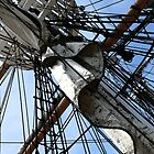 Antique Tall Ship Mast And Sails by sunrisern