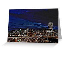 Portland Oregon at night Greeting Card