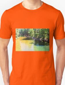 Yosemite National Park landscape photography. Gorgeous  lush forest trees and clear water river. T-Shirt