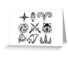 Skyrim Distressed Hold Capital Logos Greeting Card