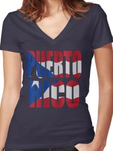 Puerto Rican flag Women's Fitted V-Neck T-Shirt