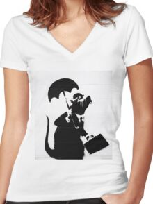 Wall Street  Women's Fitted V-Neck T-Shirt