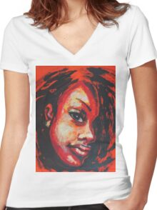 Afro - Portrait Of A Woman Women's Fitted V-Neck T-Shirt