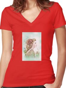 """""""THE ARIES"""" - Protective Angel for Zodiac Sign Women's Fitted V-Neck T-Shirt"""