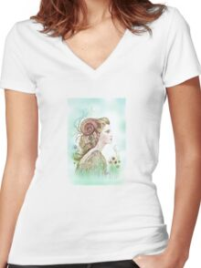 """THE ARIES"" - Protective Angel for Zodiac Sign Women's Fitted V-Neck T-Shirt"