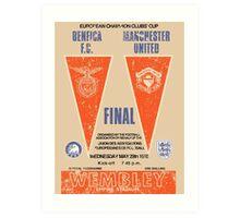 Manchester United vs Benfica - Retro Match Programme Art Print