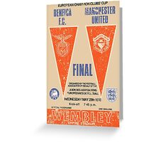 Manchester United vs Benfica - Retro Match Programme Greeting Card