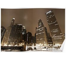 Chicago by night - Wacker drive Poster