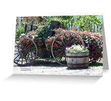 Horse Drawn Flower Wagon Greeting Card