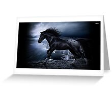 Black horse on a cliff Greeting Card