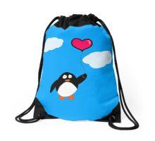 Penguin with Heart Balloon Drawstring Bag