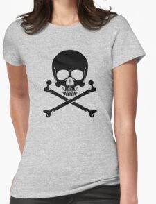 Black Skull and crossbones Womens Fitted T-Shirt