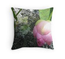 Lotus in water - Norfolk Botanical Gardens Throw Pillow