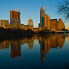 Right after the New Year 2010 Austin Texas Skyline by Roschetzky