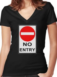 No Entry! Women's Fitted V-Neck T-Shirt