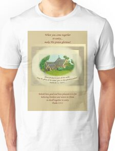 T-Shirt St Aiden's Exeter Church Come together in unity & Make His Praise Glorious Psalms 66:1-2 & 133:1 Unisex T-Shirt