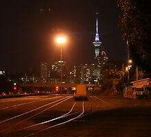 Auckland by night - photograph - wonderful contrasts of dark and light, beautiful colors, night photography by Lorna Allan