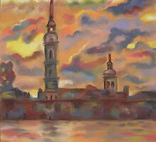 In Flames of Sunset- St. Peter and St. Paul Cathedral, St. Petersburg, Russian Federation. by Paulina Kazarinov