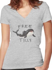 Free Tilly Women's Fitted V-Neck T-Shirt