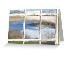 Seascape through window pane Greeting Card