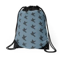 Bird in flight on blue sky Drawstring Bag