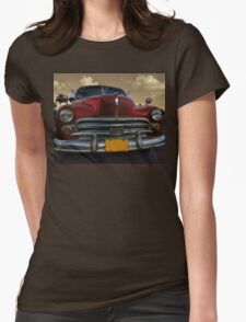 Classic American car in Vinales, Cuba Womens Fitted T-Shirt