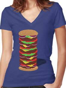 Tower Burger Women's Fitted V-Neck T-Shirt