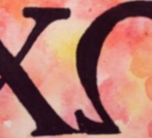 Chi Omega Watercolor Sticker