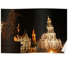 Night Ensemble of Dresden at Elbe River Poster