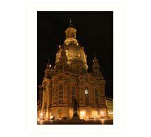 Frauenkirche Dresden illuminated at night Art Print
