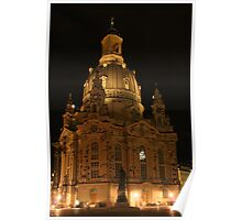 Frauenkirche Dresden illuminated at night Poster