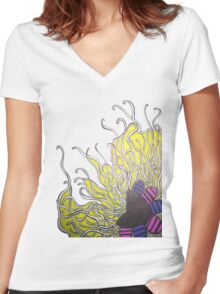 Abstract Flower with Tentacles Women's Fitted V-Neck T-Shirt