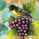 Bird with grapes by Pamela Plante