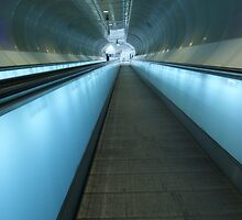 Blue escalators by Lindie Allen
