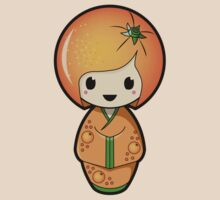 Orange Kokeshi Doll by Bubble Doll
