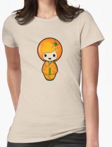 Orange Kokeshi Doll Womens Fitted T-Shirt