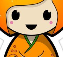 Orange Kokeshi Doll Sticker