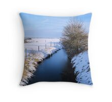 Winter river scene Throw Pillow