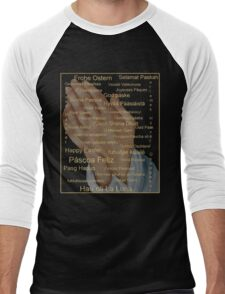 Happy Easter in all Languages Men's Baseball ¾ T-Shirt