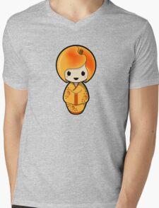 Peach Kokeshi Doll Mens V-Neck T-Shirt