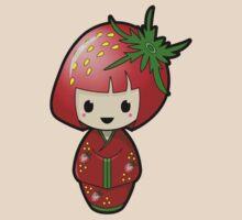 Strawberry Kokeshi Doll by Bubble Doll