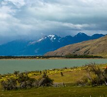 Patagonia Landscape - Rolling Grass, Mountains, and Lake Scene by Jean Meile